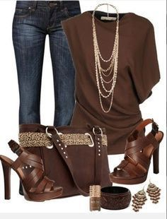 I don't like the idea of brown jeans bit I like the rest of the outfit