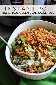 Instant Pot Homemade Green Bean Casserole - Katie's Cucina Instant Pot Homemade Green Bean Casserole is the perfect comforting side dish for any holiday party or even a Sunday dinner! Homemade Green Bean Casserole, Healthy Green Bean Casserole, Homemade Beans, Thanksgiving Green Beans, Thanksgiving Side Dishes, Vegetarian Thanksgiving, Thanksgiving Recipes, Greenbean Casserole Recipe, Casserole Recipes