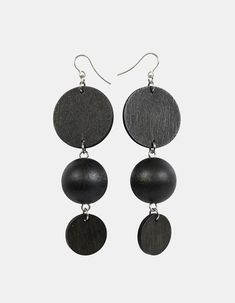 The Apollo earrings play around with round shapes Designed by Pauliina Aarikka. Handmade in Finland. Wooden Jewelry, Metal Jewelry, Apollo, Shape Design, Crochet Earrings, Jewelry Design, Drop Earrings, Silver, Handmade