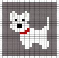 Little Scottie dog pattern chart, great for making crochet corner to corner C2C blanket, or afgan. This could be used as a Graphgan pattern
