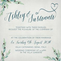 Italian wedding invite using olive branches in a rustic theme