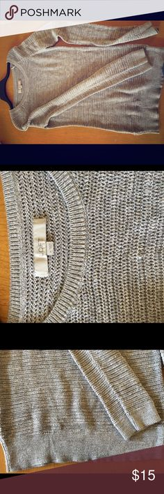 Grey thick knit tunic sweater Thick grey knit tunic sweater by Ann Taylor Loft. This sweater is very thick to keep you warm while looking cute. Sweater hits mid-thigh on me (5'5). Cuffed sleeves and boat neck. LOFT Sweaters Crew & Scoop Necks