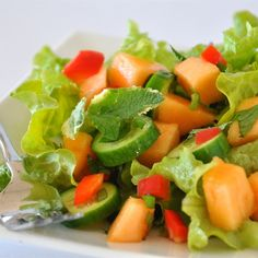 """""""Spinach Cantaloupe Salad with MintI """"""""Wow! I would have never thought to put this combination of flavors together, but it worked so well."""""""" """""""