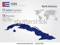 Cuba world map with a pixel diamond texture. World geography.