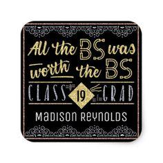 #glitter - #University Graduation Bachelors Degree Funny Grad Square Sticker