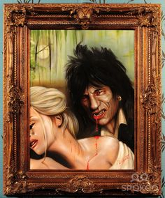 Artist Paul Karslake unveils a graphic depiction of his own brother-in-law Ronnie Wood as a blood-crazed vampire biting into the neck of a blonde victim. The painting is now up for auction on eBay. England - July 2009 This is a PR photo. WENN does not claim any ownership including but not limited to Copyright or License in the attached material. Fees charged by WENN are for WENN's services only, and do not, n...