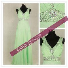 New Prom Dresses Long Sleeveless Vneck Bud Green by RobinDresses