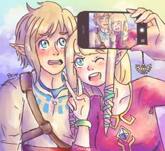 thepiratebei:  If Zelda had a smartphone she would bother Link to take selfies the whole day gfihhkfghdsufhosfd Gosh, I love those dorks so much <3