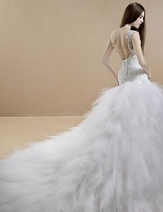Trumpet/Mermaid V-neck Cathedral Train Wedding Dress (Lace/Tulle) – USD $ 449.99
