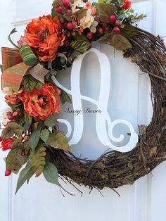 Monogram Wreath Fall Wreath, Fall Monogram Wreath For Door, Pumpkin Wreath, Hydrangea by SassyDoorsWreaths on Etsy