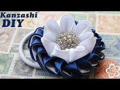 Резинка Канзаши Мастер Класс / DIY Kanzashi - YouTube
