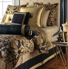 Black and gold wall decor gold bedroom decor wonderful navy blue and gold bedroom navy and . black and gold wall decor Gold Bed, Black Comforter, Gold Bedroom, Luxurious Bedrooms, Blue And Gold Bedroom, Bed, Bedroom Decor, Luxury Bedding, Bedding Sets