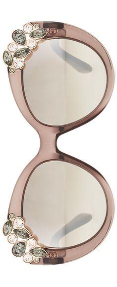 Jimmy Choo Megan Jewel-Detail Cat-Eye Sunglasses, Brown