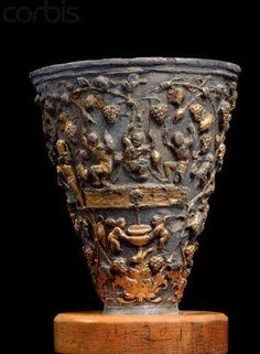 """Side View of Roman Trophy Cup with Floral Reliefs, 1st century CE ~ Rewarded with a wine drinking cup. People still """"reward"""" themselves today--"""