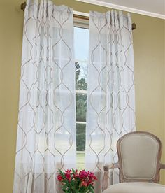 Elegant yet relaxed, embroidered scroll pattern for a bit of geometric appeal from Country Curtains!