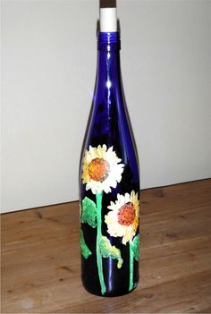 Cobalt Blue Painted Wine Bottle With Sunflowers by FinchNestArt, $20.00