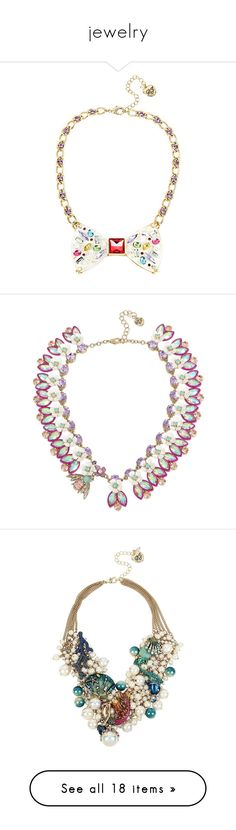 """""""jewelry"""" by kissykapri ❤ liked on Polyvore featuring jewelry, necklaces, multi, multi color necklace, colorful jewelry, gold tone necklace, betsey johnson necklace, gold tone chain necklace, no color and faceted necklace"""