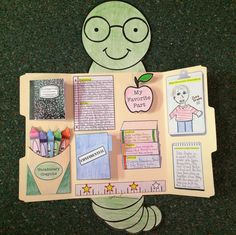 This cutie will make your students want to devour their books!!! Read, color, cut, and create a BooK Report LapBook. Composition Notebook, Vocabulary Crayons, Confidential Folder, and Teacher's Apple open to reveal important information inside!