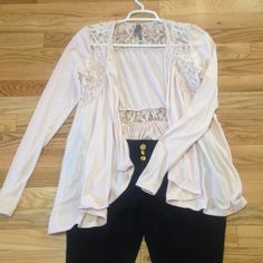 Charlotte Russe pale Pink lace cardigan Charlotte Russe pale pink cardigan with lace at shoulders and waist. Charlotte Russe Tops