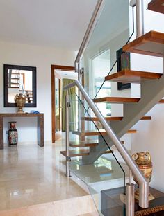 Staircase in renovated 1970s house