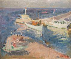 ZYGMUNT SCHRETER (SZRETER) (1896 - 1977)  PEJZAŻ PORTOWY   olej, płótno / 38 x 44 cm  sygn. p.d.: Schreter