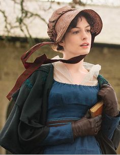 Anne Hathaway-Regency England 1811 - 1820 - Empire France 1799 - 1814 - Jane Austen - becoming Jane Becoming Jane, Anne Hathaway, Jane Austen, Moda Floral, Actrices Hollywood, Regency Era, Period Outfit, Movie Costumes, Pride And Prejudice