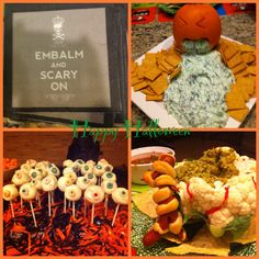 Halloween Party Food Ideas from my friends recent party. Spinach Dip Pumpkin, Eyeball Cake Pops, Mummy Wrapped Hotdog, Cauliflower brain filled with Guacamole. Creative party presentation