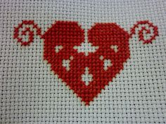 Cross stitched Valentine Heart for charity
