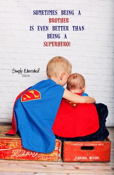 """""""Sometimes being a BROTHER is even better then being a SUPERHERO!"""" brothers, little boys, superhero, photos Brother Pictures, Boy Pictures, Boy Photos, Family Photos, Cute Photography, Children Photography, Newborn Photography, Family Photography, Sibling Photos"""