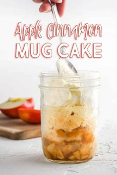 This mug cake has brown sugar and cinnamon apples topped with a fluffy cinnamon vanilla cake. Ready in only 10 minutes! #mugcake #apple #applecinnamon #microwavedessert Fast Dessert Recipes, Make Ahead Desserts, Fall Desserts, Vegan Recipes Easy, Delicious Desserts, Cake Recipes, Amazing Recipes, Cinnamon Mug Cake, Cinnamon Apples
