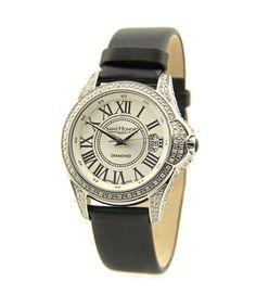 Saint Honore Watches Coloseo Steel Watch With Diamonds & Black Satin Leather Bracelet (=) Watch Sale, Fashion Branding, Stainless Steel Watch, Black Satin, Michael Kors Watch, Chronograph, Saints, Watches, Silver