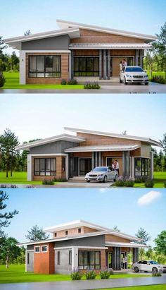 Contemporary Single Storey House With Three Bedrooms And Two Bathrooms House Designs Exterior Bathrooms bedrooms Contemporary house Single Storey Flat Roof House Designs, Modern Bungalow House Design, House Roof Design, Simple House Design, Facade House, Modern Roof Design, Modern Bungalow Exterior, Architect Design House, Single Floor House Design