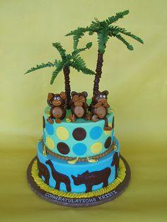 Monkey Safari Baby Shower Cake by CakesUniqueByAmy.com, via Flickr