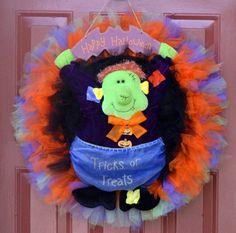 Halloween Frankenstein Tulle Wreath $45.00