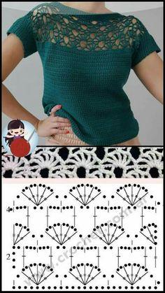 Crochet Baby Dress Pattern, Crochet Yoke, Crochet Shirt, Crochet Diagram, Easy Crochet, Crochet Patterns, Crochet Stitches Chart, Crochet Instructions, Crochet Woman