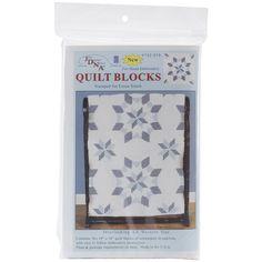 """Stamped White Quilt Blocks 18""""X18"""" 6/Pkg-Interlocking XX Western Star"""