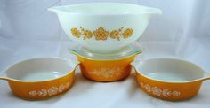 PYREX Butterfly Gold Cinderella Bowl and Casserole Dishes - Vintage Pyrex