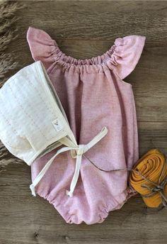 Sweet Handmade Powder Pink Baby Romper | MiyaAndMa on Etsy