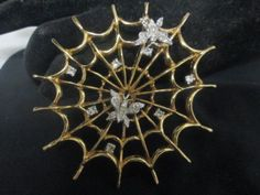 Vintage-Panetta-spider-web-pin-with-butterflies-large