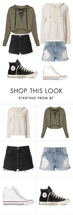 """Story Ouffit #32"" by sarahstar811 ❤ liked on Polyvore featuring NSF, RE/DONE, Frame and Converse"