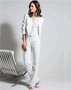 smoking blanc de un jour ailleurs Pantalon Blanc Femme, Robe Blanche,  Tailleur Pantalon Femme 865b8a6a1066