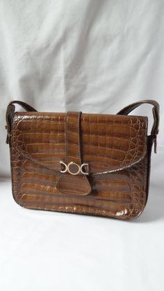 Sac à main vintage imitation crocodile / sac 1970 avec anse / caramel / marron / serpent / sac de soirée /