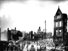 Cork city centre was ravaged by fire after the Black&Tans and the RIC went on a rampage to avenge the killing of an Auxiliary soldier (ie Black&Tan) by the IRA at Dillon's Cross on 11 December 1920. (Image: Mercier Archives) > looks v similar to the 'Burning of Cork' image - guess it's the same incident-q.v.