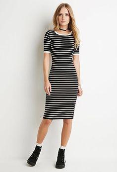 Ribbed Stripe Bodycon Dress | Forever 21 - 2000174192