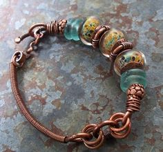 vicki's copper bracelet 003 by S Michelle Wilson Bracelet Cuir, Copper Bracelet, Copper Jewelry, Wire Jewelry, Boho Jewelry, Jewelry Crafts, Jewelry Art, Beaded Jewelry, Jewelry Bracelets