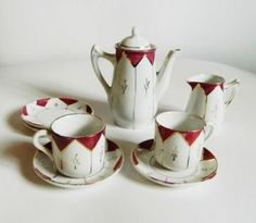 #Antique Children's Teaset Red Violet Luster  by oakandcrowsundries for $19.95