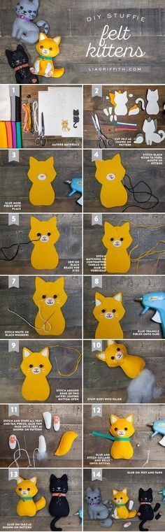 Make your own super-cute felt craft cats with these simple yet stunning patterns by handcrafted lifestyle expert Lia Griffith. Make your own super-cute felt craft cats with these simple yet stunning patterns by handcrafted lifestyle expert Lia Griffith. Felt Crafts Diy, Cat Crafts, Sewing Crafts, Animal Crafts, Animal Projects, Fabric Crafts, Ideal Toys, Felt Cat, Felt Patterns
