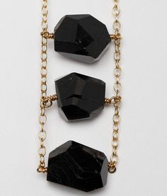 Black Tourmaline Nugget Gold Necklace by GarnettJewelry on Etsy, $42.00