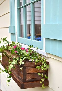 Wooden look window box planters, container gardening, flowers, gardening, how to, outdoor living, woodworking projects