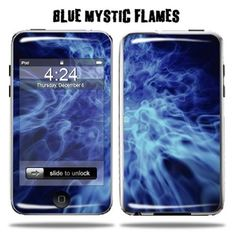 Mightyskins Protective Vinyl Skin Decal Cover for Apple iPod Touch 2G 3G 2nd 3rd Generation 8GB 16GB 32GB mp3 player wrap sticker skins - Blue Mystic Flames